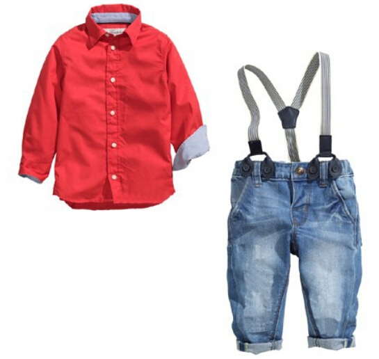 ST158 2015 belo conjunto de roupas crianças roupas de bebê menino definir algodão longo-sleeved camisa vermelha + calça jeans roupa dos miúdos conjunto de varejo