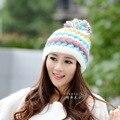 Новое поступление женщин зимняя шапка ручной работы вязаная шапка теплая шапка с большой шар зима женщины фабрики оптовая продажа бесплатная доставка