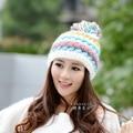 Nueva llegada del invierno mujer sombrero hecho a mano sombrero hecho punto sombrero caliente con invierno gran bola mujeres envío gratuito