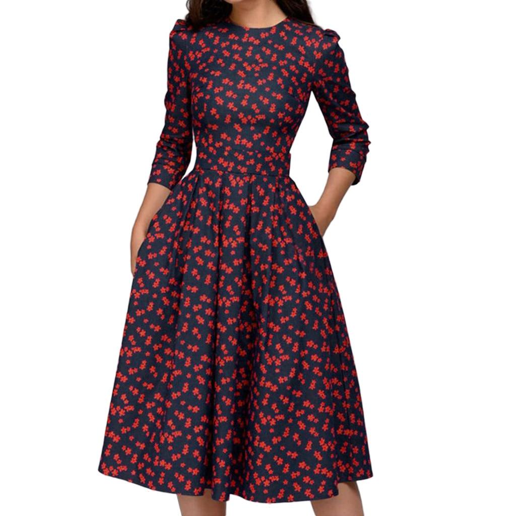 Frauen A-Line Drucken Vintage Kleid Floral Vintage Kleid Elegante Retro Midi Lange Kleid 3/4 Ärmeln abito Vestido ~ 20