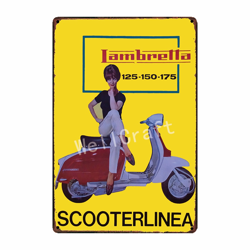 [WellCraft] Lambretta Motor Metal Signs Home Hotel Placa de pared - Decoración del hogar - foto 3