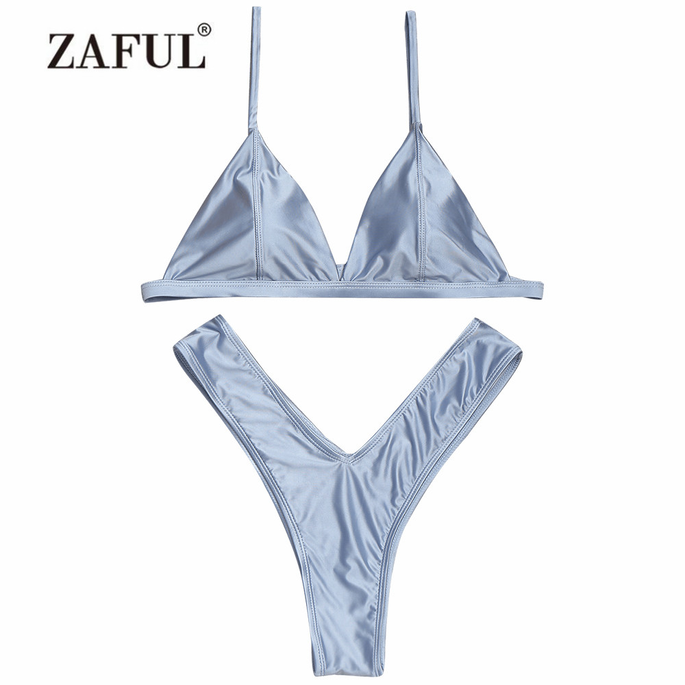 ZAFUL Bikini Cami High Cut Thong Bikini Set Women Swimsuit Women Swimwear Women Bathing suit Summer Beacher Brazilian Biquni