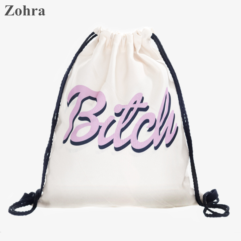 Pink letters 3D printing Women drawstring bag mochila Travel man ...