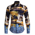 2017 new arrival Red-crowned crane Print autumn fashion high qualtiy long-sleeved tide brand men's shirts plus size M- 4XLg16152