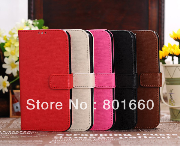 Cross Stripes PU Leather Wiht Credit Card Slot Flip Stand Cover Case For Samsung Galaxy S IV S4 I9500