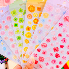 DIY Cute Kawaii PET Scrapbooking Paper Craft Sticker Lovely Flower Decorative Sticker For Diary Decoration Free Shipping 450