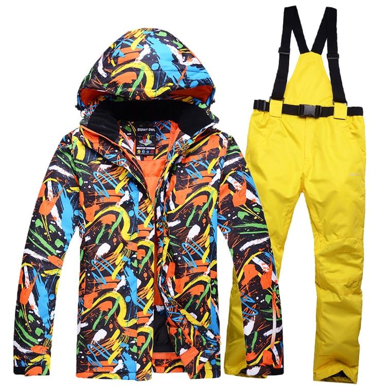 ФОТО 2017 NEW MENs skiing suit snowboard waterproof & windproof winter snow warm  -30 costume outdoor ski jackets + Suspended Pants