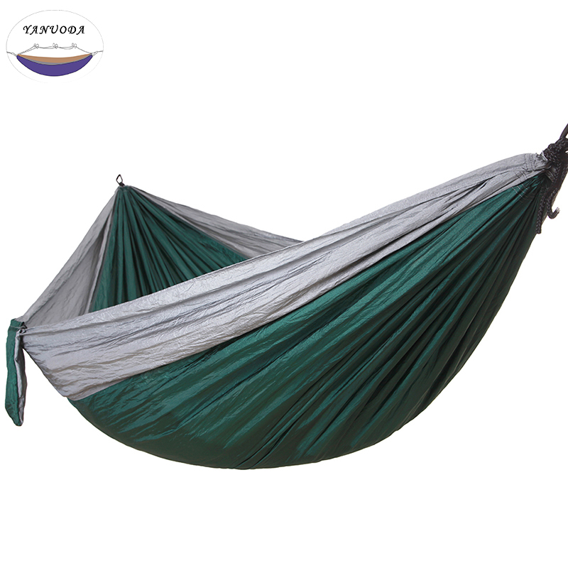 Camping Hammock, Portable Parachute Nylon Fabric Travel Ultralight Camping Double Wide Outdoor Travel(Gray+Dark green) aotu at6716 parachute nylon fabric double hammock neon green