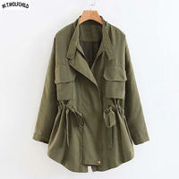 Fashion Casual Women's zipper Trench Coats womens Outerwear clothes for Elegant lady loose Army green coats Spring Autumn