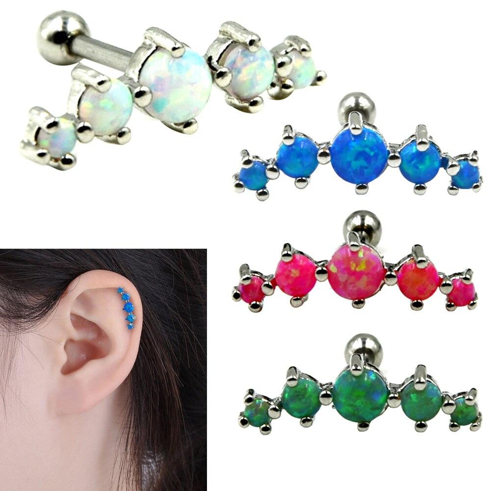 1 pc Tragus Earring Ring Opal Stone Ear Plugs Tunnel Ear Bone Body Piercing Jewelry Gifts KQS8