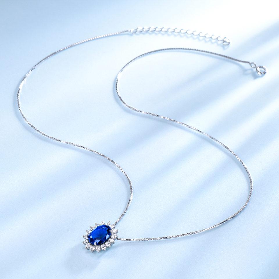 UMCHO 10 * 8mm Mavi Sapphire Boyunbağılar və Kolye 925 Sterling - Gözəl zərgərlik - Fotoqrafiya 2