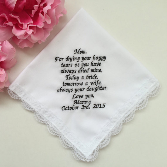 Personalized embroidered Handkerchief For Mum Mother of the Bride or groom  handkerchiefs gifts Lacy hankie favors