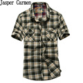 AFS JEEP Summer Casual Shirt 2017 Short Sleeve Plaid Shirts Turn Down Collar Camisa slim Fit shirt men Plus size M-4XL 78z