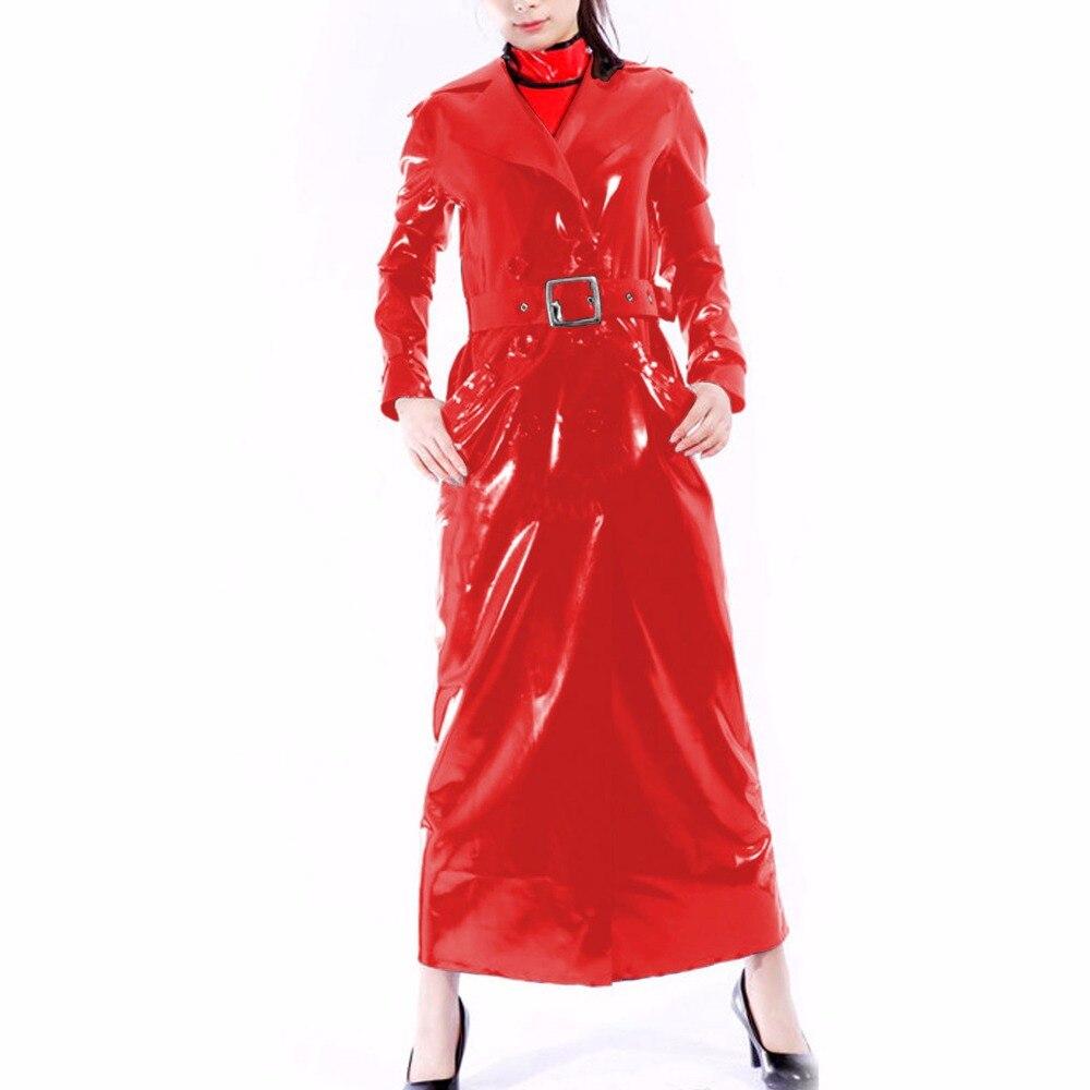2019 Latex 100% Gummi Rubber Long Coat Trench Sexy Fashion Belt Adjustable Cosplay Customized Size XXS-XXL