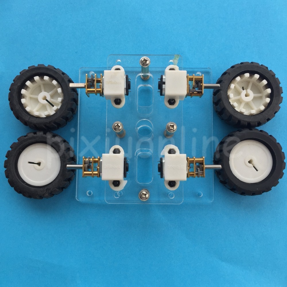 1suit J266Y DIY Assembled 4WD Transparent Acrylic Board Model Car with 4 N20 GEAR MOTOR DIY Chassis Frame transparency acrylic n20 4wd two layer smart car chassis robot diy kit