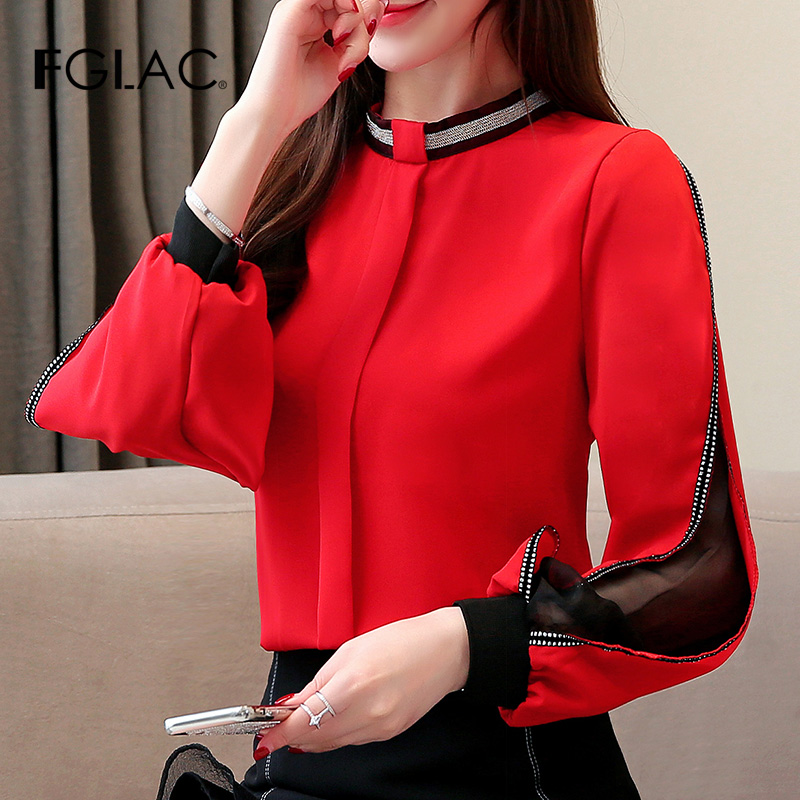 FGLAC   Blouse   Women   shirt   New 2019 Autumn Casual long sleeve Chiffon   blouse     shirt   Elegant   blouses   Office Lady Hollow out blusas