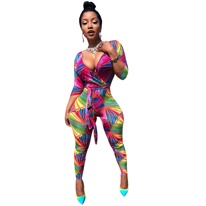 Geometric Print Deep V Neck Sexy   Jumpsuit   Women Autumn 3/4 Long Sleeve Club Party Playsuits High Waist Bodycon   Jumpsuit   Sashes