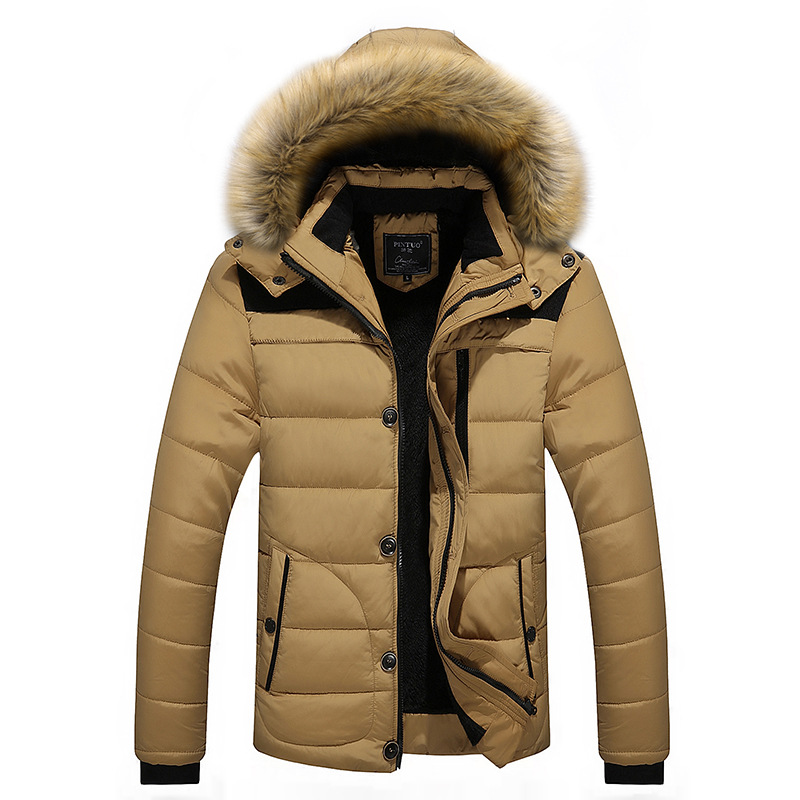 2018 autumn winter new men's   parkas   stitching pattern hooded fur collar jacket coat plus velvet cotton jacket fashion outwear