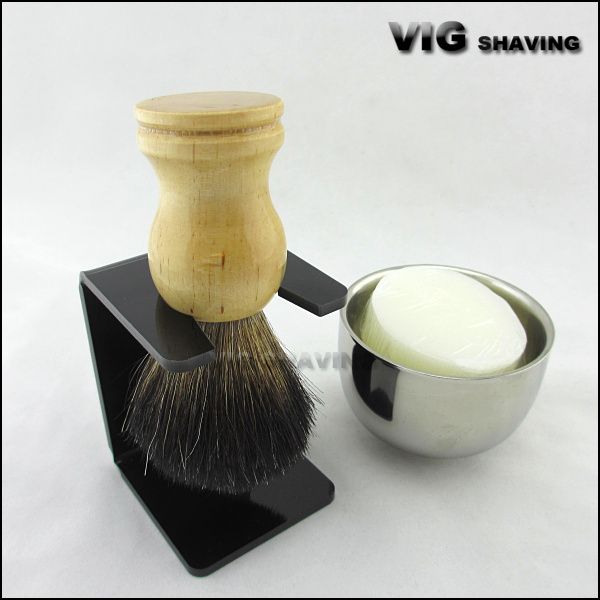 Wood handle black badger hair shaving brush and stand set with shaving soap