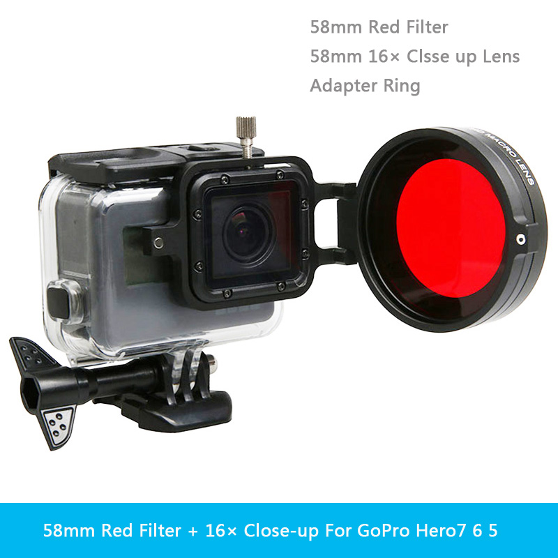 Diving Lens Filter Underwater Lens Filter Red Filter 16X Close Up Lens 16 Times Macro Lens For GoPro Hero 7 6 5 Action Camera