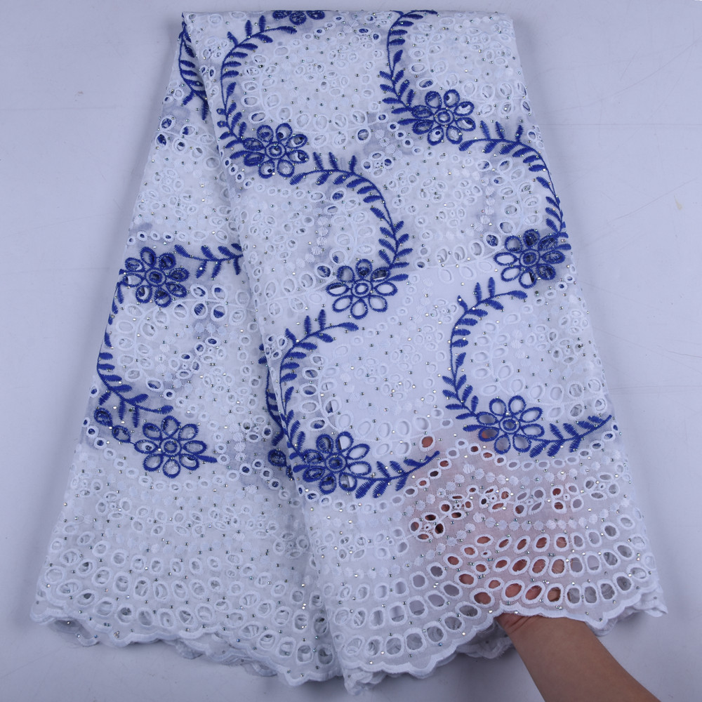 2019 Swiss Voile Lace In Switzerland High Quality African 100%Cotton Lace Fabric With Stone For Nigerian Every Dress Party F1657