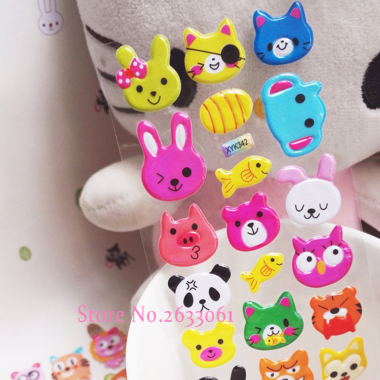 2018 New Animal Pattern Cute Head Portrait Sticker Smiling Face Cartoon Characters Realistic 17cm*7cm Bubble Stickers Kids Toy new cute head portrait sticker smiling face interesting smile face stickers children kids toy for phone notebook message twitter