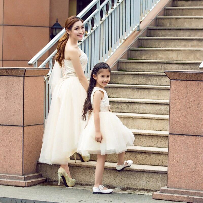 Été maman fille robes automne famille correspondant princesse robe de mariée famille correspondant vêtements tenues sans manches famille Look - 2