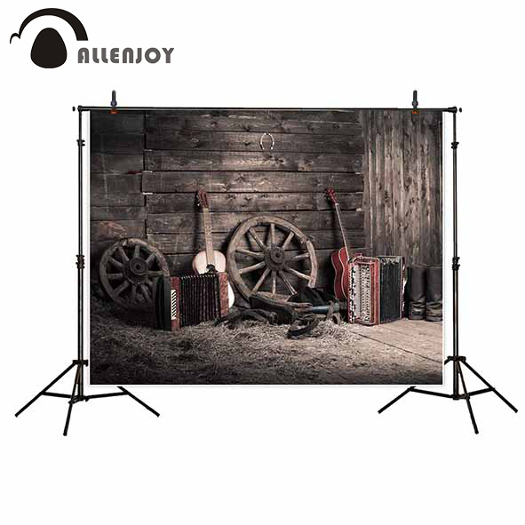 Allenjoy photography backgrounds Traditional rural farmhouse guitar Tires accordion music photocall for photographic photo shoot