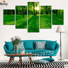Canvas Prints Painting On The art Wall For Living Room All Green Style New Life Tree Through Sunshine no frame