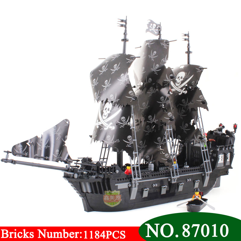 AIBOULLY 87010 Pirates of the Caribbean Black Pearl ship large model Assembled Building Blocks Kids toys