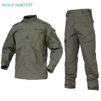 WOLFONROAD Army Green Outdoor Camouflage Uniform Tactical Military Uniform Combat Hunting Suit BDU Training Jacket and Pant