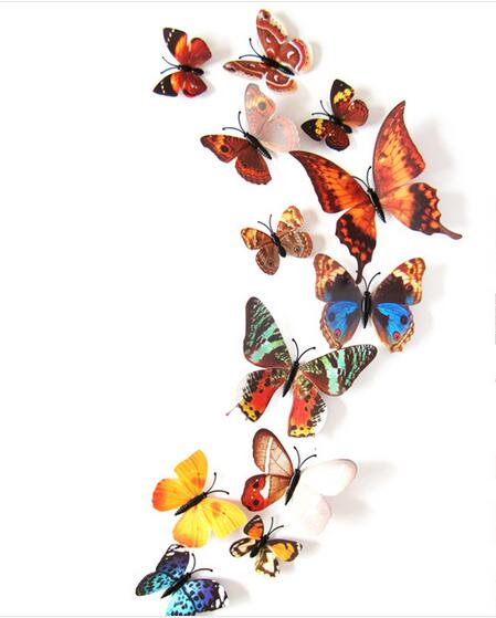 12 Pcs/Lot PVC 3D Magnet Butterfly Wall Stickers Butterflies Decors for Wedding Party Home Kitchen Fridge Decoration rysunek kolorowy motyle