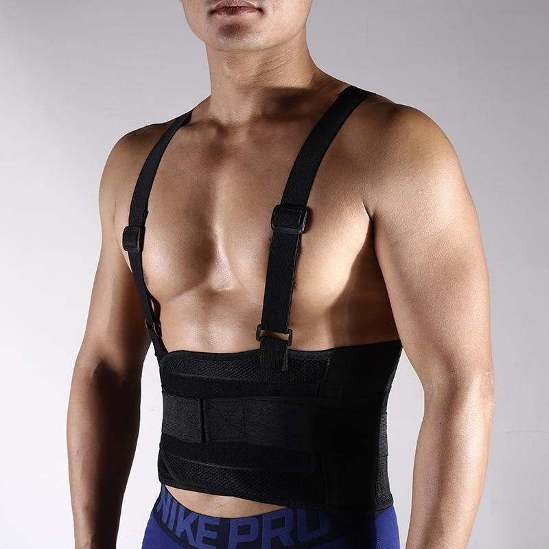 Новый Регулируемый поясной ремень для мужчин, медицинский Поясничный фитнес, тяжелая атлетика, пояс для бега с плечевыми ремнями, дышащий