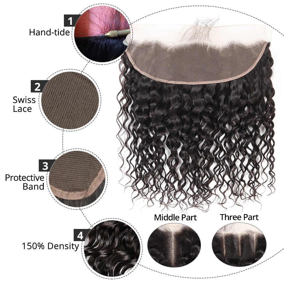 AliPearl волос бразильский воды волна Кружева Фронтальная 13X4 с ребенком человеческих волос натуральных волос Цвет 1b Волосы remy бесплатная доставка