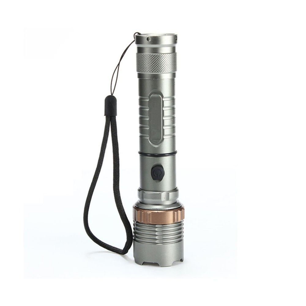 Portable Elfeland Tactical Military T6 Flashlight LED Rechargeable Zoomable Flashlight Torch Aluminum Alloy with Lotus Head
