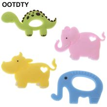 Elephant Hippo Dinosaur Baby Teether Food Grade Silicone Pendant Teething Bead Newborn Chew Toy(China)