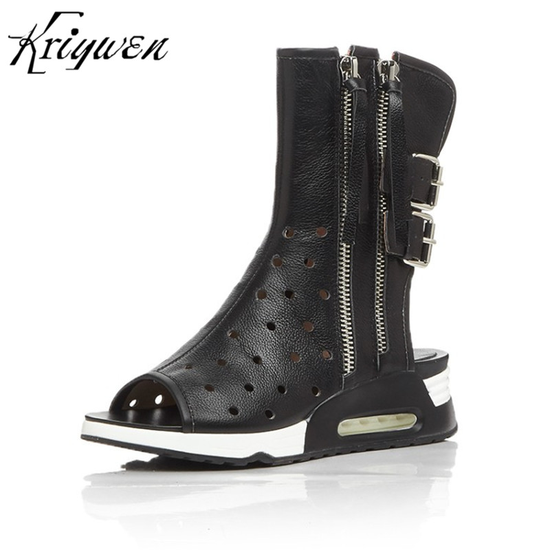 Summer Brand Genuine Leather Shoe For Woman Buckle Double Zipper Mid-Calf Motorcycle Boots Women Femmes Botas bottes pour femmes trendy low heel and double buckle design women s mid calf boots