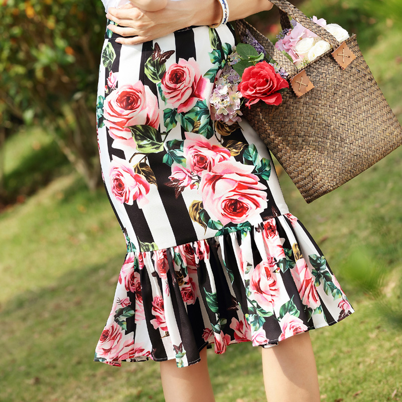 High Quality 2019 New Designer Half Skirt Stripe Floral Print Ruffles Vintage Mermaid Mid-Calf Skirt