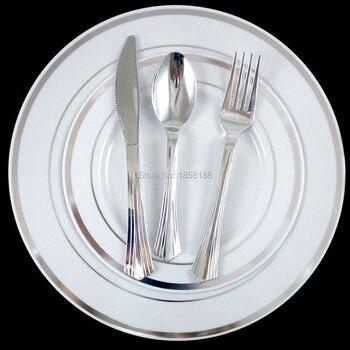 36 человек ужин Свадебные Посуда одноразовые Пластик Таблички столовое серебро обода серебряные столовые приборы вечерние Аксессуары