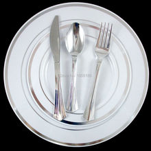 36People Dinner Wedding Tableware Disposable Plastic Plates Silverware Rim Silver Cutlery Party Decorations