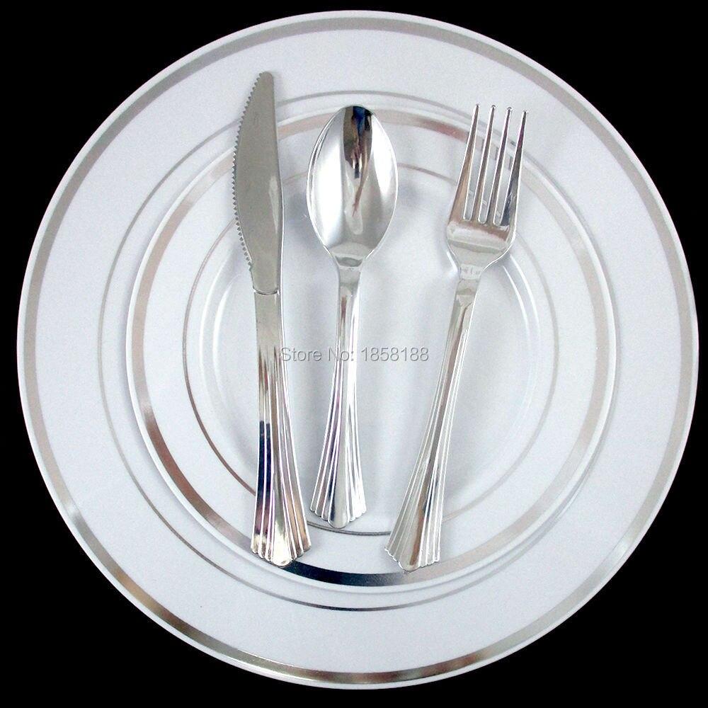 36people dinner wedding tableware disposable plastic plates silverware rim silver cutlery party