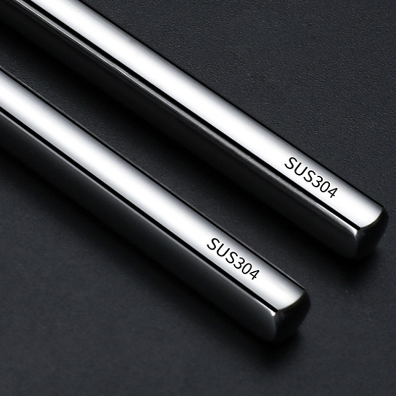 100pair/lot food grade top 304 stainless steel tableware chopsticks household metal alloy square chopsticks Custom logo
