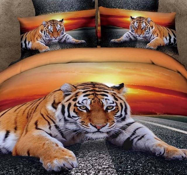3d tigre ensembles de literie couvre lit housse de couette super roi quip e coton lit feuilles. Black Bedroom Furniture Sets. Home Design Ideas