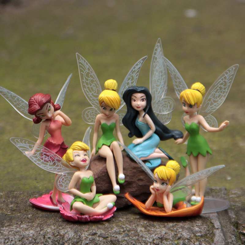 6pcs/set Christmas Kids Gift Tinkerbell Dolls Flying Flower Fairy Children Animation Cartoon Toys Girls Baby Toy Wj436 To Assure Years Of Trouble-Free Service Toys & Hobbies