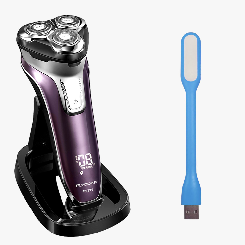 Flyco 3D Men's Electric Shaver Rechargeable Shaver Tripe Blade Barbeador Eletrico Shaving Machine for Men FS376-C USB Lamp электробритва flyco 3d fs370fs372