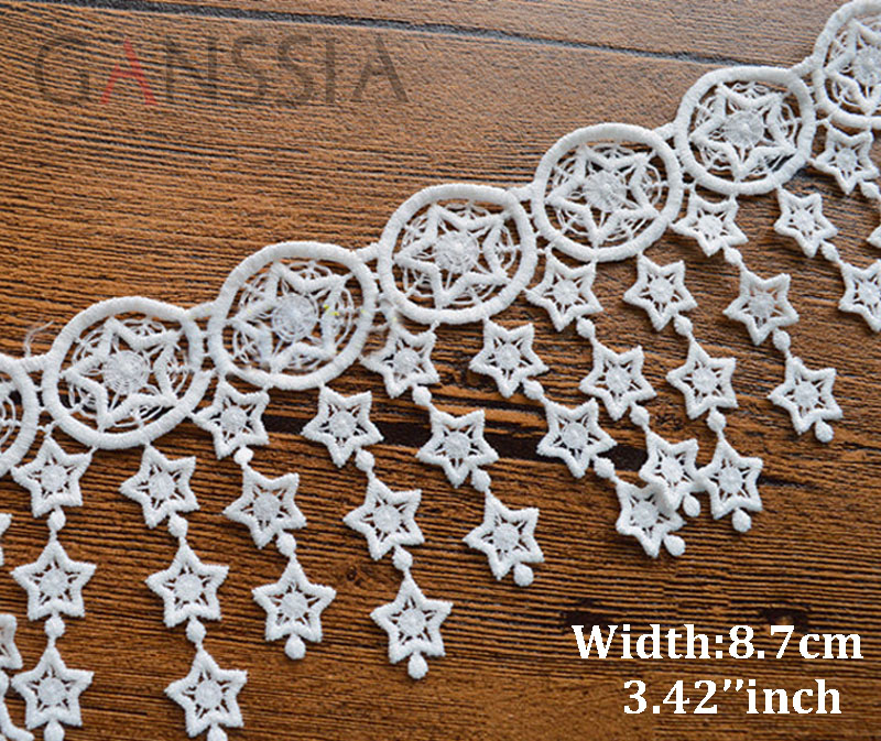 1yard Width:8.7cm Ivory White Color Exquisite Star Tassel Design  Lace Accessories Water-soluble Embroidery Lace (ss-343)