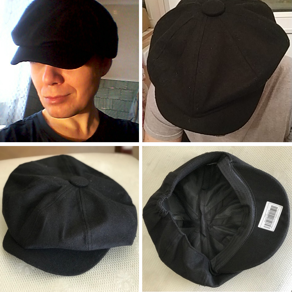 86228786c6f30 Unisex Tweed herringbone Gatsby Cap Men Woolen Vintage Beret Hat ...