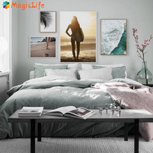 Sea Wave Beach Sexy Woman Surf Big Leaves Wall Art Canvas Painting Nordic Poster Wall Pictures For living room Unframed unframed sea wave and beach pattern canvas paintings