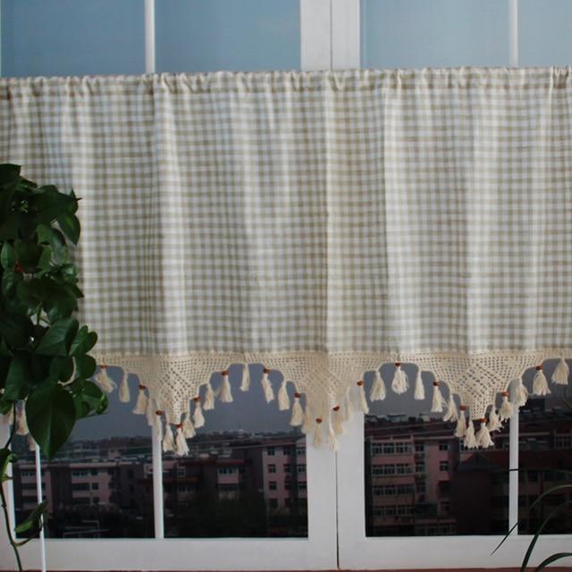 Kitchen Cafe Curtains Modern: Free Shipping Modern Plaid With Tassel Curtain Minimalist
