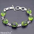 Hermosa Jewelry Charming Fashion Peridot 925 Sterling Silver Bracelets 6 inches Adjustable HM371